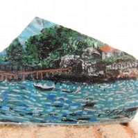 Painted Sea Pottery Paperweight: Drake's Island