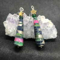 Christmas Tree Earrings, hand rolled paper beads