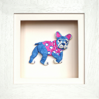 French Bulldog Papier Mache Animal in White Wooden 3D Frame with glass