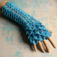 Shades of Blue Fingerless Gloves, Crochet Gloves in Hand Dyed Wool