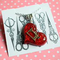 Sewing Machine Necklace, Red Glitter Heart Necklace