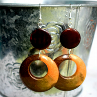 Chocolate and Caramel Resin Hoop Earrings