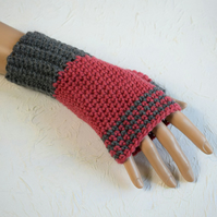 Deep Pink and Grey Fingerless Gloves, Wool Gloves for Women