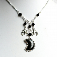 Black Moon and Bats Neckace, Gothic Jewellery