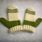 Green and Cream Striped Mittens, Womens Winter Mittens