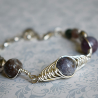 Indian Agate and Lotus Bead Bracelet