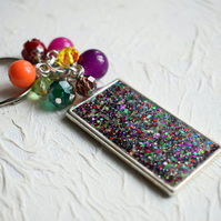 Rainbow Beaded Keyring