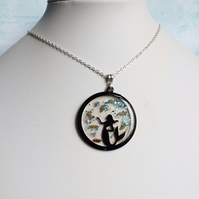 Mermaid Pendant Necklace with Real Shells