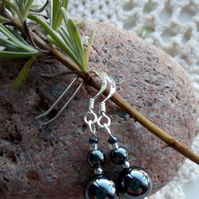 Hematite and silver ball bead earrings