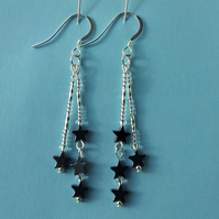 Hematite double drop earrings with Hematite stars and silver beads.