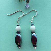 Hematite and Mother of Pearl earrings