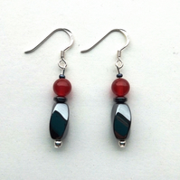 Hematite and Carnelian earrings with silver hooks