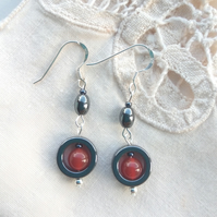 Hematite and Carnelian Art Deco earrings with silver hooks