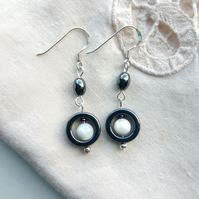 Hematite and Mother of Pearl Art Deco style earrings with silver hooks