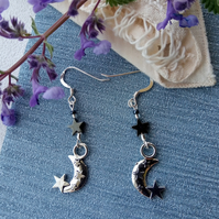 Moon and Hematite star earrings with a choice of fittings.