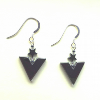 Hematite drop earrings, Art Deco style, choice of fittings