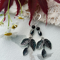 Leaf earrings with gemstone beads. Silver hooks or plated clips screws or studs.
