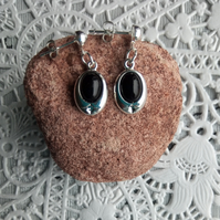 Black Onyx oval drop earrings with studs or hooks