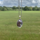 Silver pendant resin necklace with purple flowers