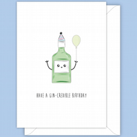 Funny Birthday Card, Bottle of Gin