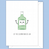 Funny Party Card, Let The Celebrations Be-Gin