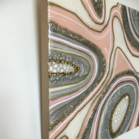 Resin art painting, pink, white, grey, gold, sparkly silver