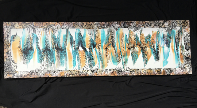 Unique abstract  fluid art painting, framed with hand  drawn lines