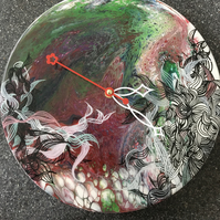 Wall clock, an acrylic pour painting, embellished with lines and glitter