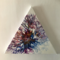 "Fluid art, Abstract flower painting,  triangle, 16"",  resin finished"