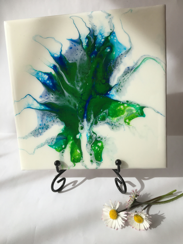 "Fluid art ,6""x6""ceramic tile, trivet, decoration, green abstract flower"