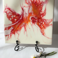 "Fluid art ,6""x6""ceramic tile, trivet, decoration, red abstract flower"