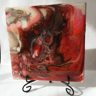 "Fluid art, 6""x6"" ceramic  tile, trivet, decoration, red abstract  painting"