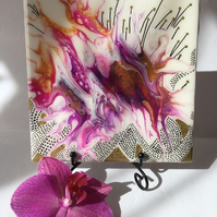 "Fluid art ,6""x6""ceramic tile, trivet, decoration , abstract flower"