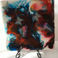 "Fluid art ,6""x6""ceramic tile, trivet, decoration, night butterflies"