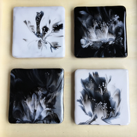 White, black, silver, abstract flower coasters, set of 4,  acrylic, resin.