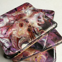 Vivid abstract flowers, fluid art  coasters, set of 4,  acrylic, resin.