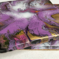 Violet, gold, abstract flower, fluid art coasters  set of 2, acrylic, resin.