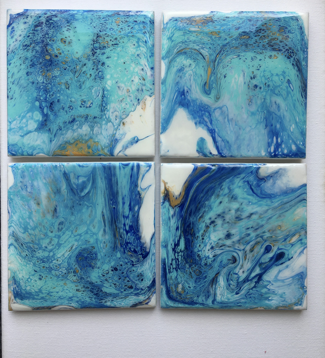Breeze from ocean,  fluid art  coasters, set of 4,  acrylic, resin.