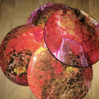 Red, lightweight,  round , fluid art coasters, set of 4