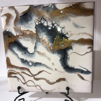 "Fluid art, 6""x6"" tile, trivet, decoration, abstract resin painting"