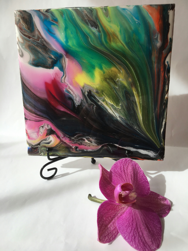 "Fluid art,6""x6""ceramic tile, trivet, decoration, multicoloured abstract painting"