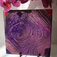 "Abstract, Fluid art painting, 6""x6""tile, trivet, decoration, purple"