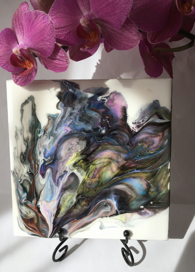 "Abstract, Fluid art painting, 6""x6""tile, trivet, decoration, multicoloured"
