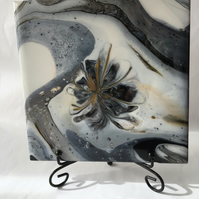 "Abstract, Fluid art painting, Grey flower , 6""x6"" tile, trivet, decorat"