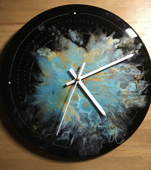 Unique Wall clock, acrylic, resin on vinyl record