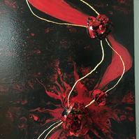 Black and red, an acrylic painting, embellished with the handmade flowers