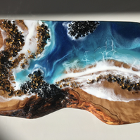 Abstract seaside, wall hanging, olive wood, resin, tiger eye , crushed glass