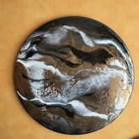 "Abstract resin art on 12"" vinyl record, gold, silver grey, black, white"