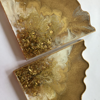 Resin coasters, gold blush, geode slices, one of a kind, set of 2