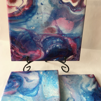 Acrylic pour painting set of 3, resin finished, trivet and 2 coasters